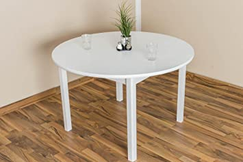 Massivholz Tisch 120x120 cm Kiefer, Farbe: Weiß
