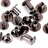 Round Flat Head Chicago Screws Buttons for Leather Crafting, 1/4 Inches (6mm) Repair Screw Post Fastener, Metal Nail Rivet Studs, Black Gunmetal, 500 Sets, Diameter 5/16 Inches (8mm) (Color: Black, Tamaño: 500 pcs)