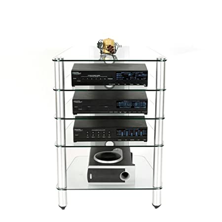 Audio Rack in Glass and Aluminum Finish RTA AVM-005