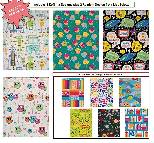 Premium Birthday Gift Wrap Wrapping Paper for Boys, Girls, Kids 6 Different 8 ft X 30 in Rolls / Pack Set Included! (Robot Wrapping Paper compare prices)