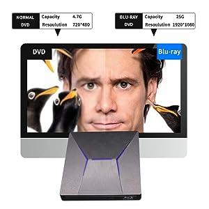 External Bluray DVD Drive, MthsTec USB 3.0 and Type-C 4K Blu-Ray DVD Burner 3D Slim Optical Bluray CD DVD Drive Compatible with Windows XP/7/8/10, MacOS, Linux for Macbook, Laptop, Desktop