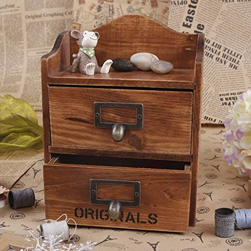 ieasycan 2 Layers Retro Old Stye Unique Wooden Jewelry Box Case Trinket Box Multipurpose Storage Boxes Drawer Storage Cabinet (brown) (Room Essentials Space Heater compare prices)
