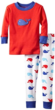 New Jammies Little Boys' Whales Organic Pajamas, Red, 2T