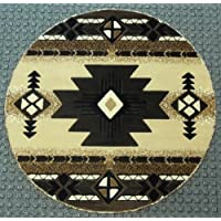Native American Round Area Rug 5 Ft. X 5 Ft. Berber # C318