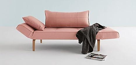 Zeal canapé lit Rose avec pied en bois clair courbé
