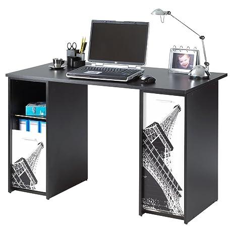 Simmob SCOUT122NO750 Tour Eiffel 750 751 ufficio di 2 alloggiamenti, con tende, stampati, in legno, 65 x 120 x 74 cm
