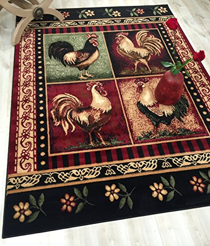 HR 7FT X 10FT LODGE CABIN ARE RUG 379 (ROOSTER) PLEASE CHECK ALL THE PICTURES