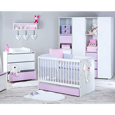 Babyzimmer Dalia in Rosa 19 tlg. mit 3 turigem Kl. + Set Sleeping Bear, Weiss