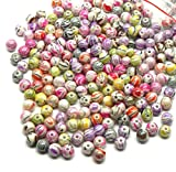 Rockin Beads Brand, 300 Mixed Acrylic Swirl and Strip Glazed Spacer Beads 8mm Round (1.4mm Hole)