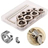 WPERSUVV 3-10mm Drill Bit Depth Stop Collar Ring Positioner Spacing Ring Positioner Locator Durable Woodworking Drill Bit with Hex Wrench (8PCS Drill Bit Depth Stop Collar)