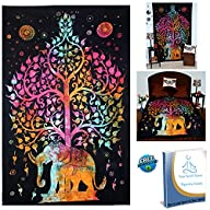 Your Spirit Space (TM) Rainbow Good Luck Elephant Tapestry-Quality Home or Dorm Hippie Wall Hanging….