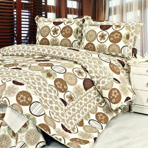 [Ramya] 100% Cotton 3PC Floral Vermicelli-Quilted Patchwork Quilt Set (Full/Queen Size)