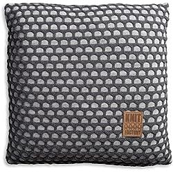 Knit Factory 1081251 Dekokissen Strickkissen Mila mit Füllung, 50 x 50 cm, grau / antra