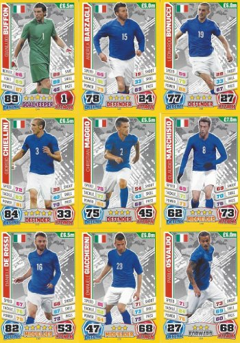 Match Attax England World Cup 2014 Italy Base Card Team Set (11 Cards)
