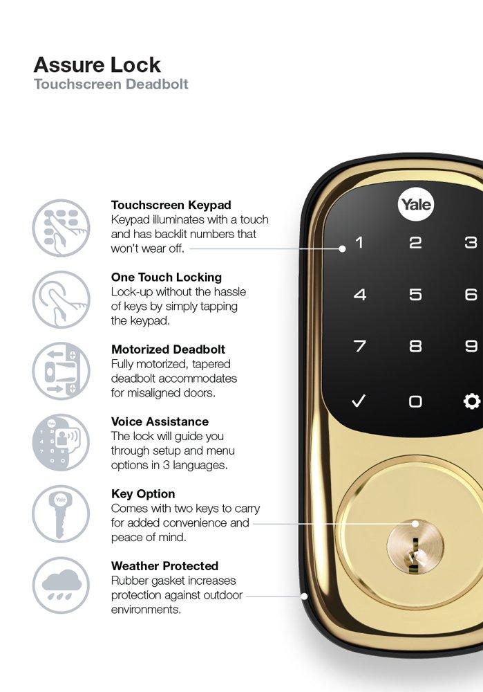 Yale ZigBee Touchscreen Electronic Deadbolt, Works with Amazon Alexa via SmartThings, Polished Brass