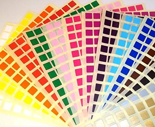 Audioprint Ltd. Etiquettes autocollantes 10 mm carrées code couleur ID points prix vierge - 10mm, noir
