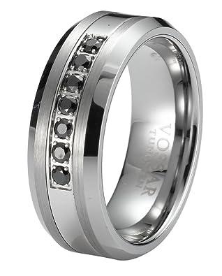 Black Diamond Men's Tungsten Wedding Band Ring 8mm 0.25ct Modern Engagement Anniversary