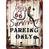 ルート66 Route 66 Survivors Parking Only / ブリキ看板 TIN SIGN