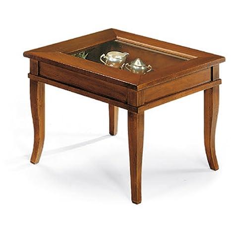 Tavolini con vetro apribile a ribalta, stile classico, in legno massello e mdf con rifinitura in noce lucido - Mis. 60 x 60 x 47