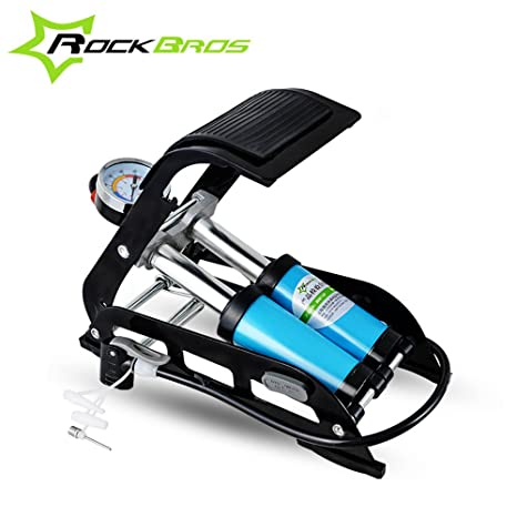 Generic Single Tube : ROCKBROS High Pressure Bicycle Pump Foot Air Inflator Pump For Car Vehicle Motorcycle Mountain Bike Bicycle Accessories Black available at Amazon for Rs.11277