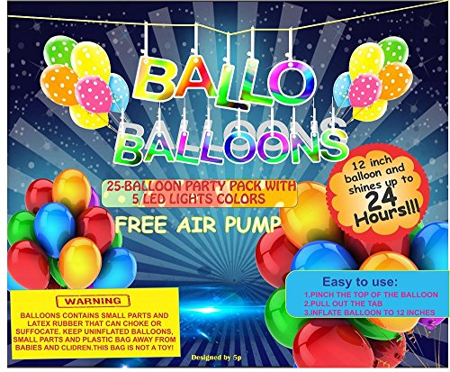 Led-Balloons-by-Ballo-25-Led-Balloons-Party-Pack-Includes-5-Diffrent-Colors-Additional-High-Quality-Pump-Made-From-Strong-Latex