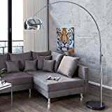 Bogenlampe LOUNGE DEAL schwarz Marmorfuss chrom 170-210cm ausziehbar