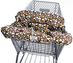Heather and Heath Comfort Plus 2-1 Premium Grocery Shopping Cart Cover and High Chair Cover, Universal Elasticated Fit Any Size Cart Design, Ultra Plush, 100% Cotton Upper, Full Seat Harness (Brown)