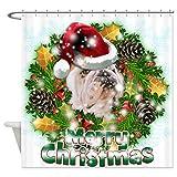 CafePress - Merry Christmas Bulldog.png Shower Curtain - Decorative Fabric Shower Curtain