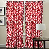 "Hargunz Eyelet Mesmerising Polyester Long Door Curtains - 108""x48"", Pack of 1 Curtain, Red (KS043-1-3)"
