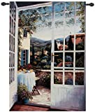 View From the Veranda Tuscan Countryside Wall Art Hanging Tapestry 48
