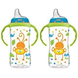 NUK 10 Ounce Jungle Large Learner Cup With Handles, 2 Pack, Boy