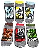 HYP Little Boys' Star Wars 6 Pack Low Socks Shoe Size 13-5 Droids Yoda Vader