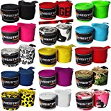 """Meister Adult 180"""" Semi-Elastic Hand Wraps for MMA & Boxing (Pair) - All Colors"""