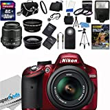 Nikon D3200 24.2 MP CMOS Digital SLR Body Red with 18-55mm f 3.5-5.6 AF-S DX VR NIKKOR Zoom Lens (Black) Import Model with Nikon 18-55mm f 3.5-5.6G AF-S DX VR Nikkor Zoom Lens + 58mm 2x Professional Lens +High Definition 58mm Wide Angle Lens + Auto Flash + 50