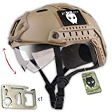 ATAIRSOFT PJ Type Tactical Multifunctional Fast Helmet with Visor Goggles Low Price Version DE + 1 x Multifunction Card