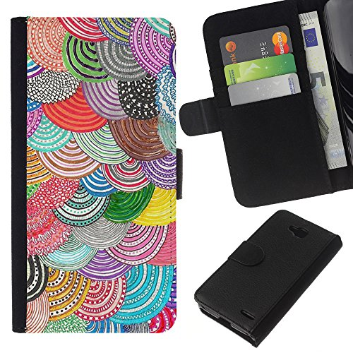 // PHONE CASE GIFT // Fashion Leather Wallet Case Stylish Credit Card & Money Pouch Protective Cover for LG OPTIMUS L90 / Beret Crocheted Wool Purple Teal Scales /