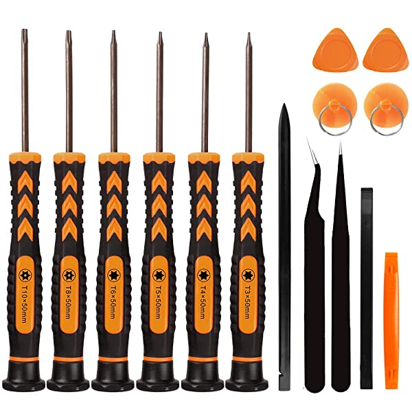 15 in 1 Torx Screwdriver Set with T3 T4 T5 T6 T8 T10 Security Torx Bit, Magnetic Star Screwdrivers Precision Repair Kit for Xbox, PS4, Macbook, Laptop