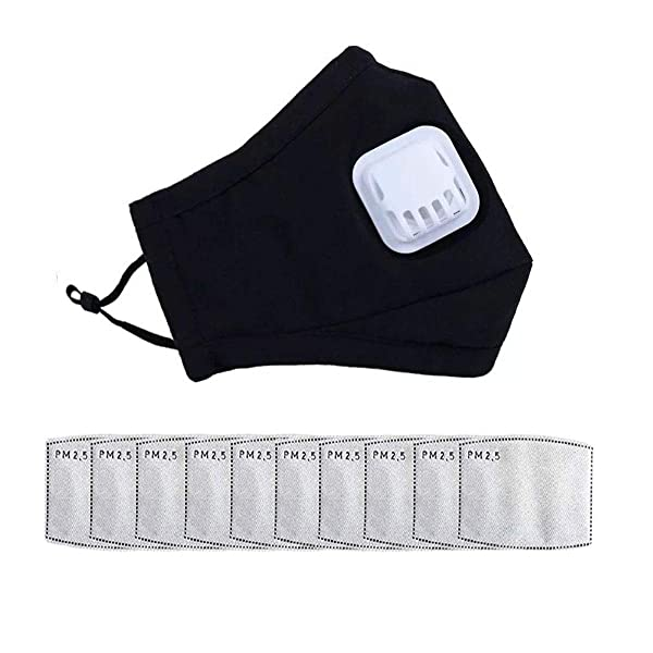 (Mask+10pcs Filters) Unisex Reusable Mouth Mask Anti Pollution Washable Cotton Activated Carbon N95 Filters Anti Pollution Mask for Cycling Camping Travel (Color: Black (mask + 10Pcs filters), Tamaño: one size)