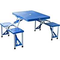 Outsunny Portable Folding Suitcase Outdoor Picnic Table in Blue (01-0009)