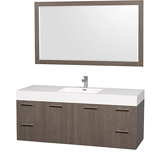 "Wyndham Collection 60"" Amare Single Sink Bathroom Vanity Set in Grey Oak with White Acrylic-Resin Integrated Sink and 58"" Mirror"