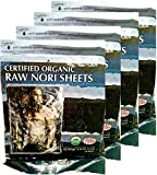 Raw Organic Nori 200 qty Sheets Pack - Certified Vegan, Raw, Kosher Sushi Wrap Papers - Premium Unheated, Dried Un Cooked, Un- Toasted