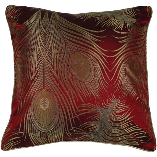 Surya PC-1101 Machine Made 100% Polyester Red 18 x 18 Decorative Pillow