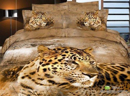 Queen Size 100% Cotton 4-Pieces 3D Gold Leopard Brown Animal Prints Duvet Cover Set/Bed Linens/Bed Sheet Sets/Bedclothes/Bedding Sets/Bed Sets/Bed Covers/5-Pieces Comforter Sets (5) front-995490