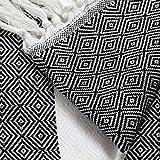 Diamond Pattern Cotton Pestemal Turkish Bath Towel Black with White Stripe
