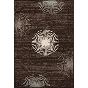 2' x 3' Abstract Dandelion Coffee Bean Shaded Area Throw Rug