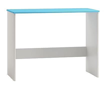 Bureau en bois du pin massif blanc bleu 009 - Dimensions: 77 x 110 x 47 cm