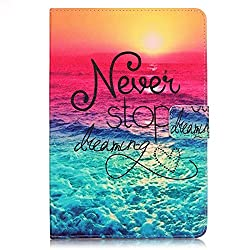 iPad Air 2 Case,Veggzy® [360 Protection][Never Stop Dreaming] Slim Flip Folio PU Leather Wallet Stand Smart Protective Cover with Card Slots,Pocket for Apple iPad Air 2/iPad 6th Generation 9.7 inch