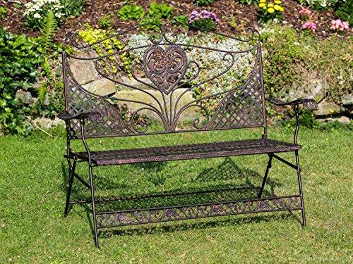 Nostalgie-Gartenbank-Herz-Blumen-Eisen-antik-Stil-Braun-Gartenmbel-Bank-garden