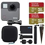 GoPro Fusion + 2X SanDisk 32GB Extreme microSDHC Memory Card with SD Adapter + Brown Spike Mount for GoPro + Wrist Strap Band Mount for GoPro – Complete Action Camera Bundle
