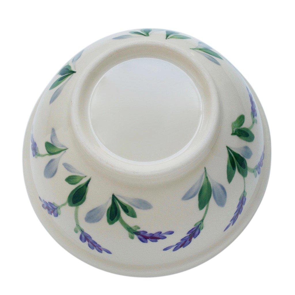 Ceramic Round Serving Bowl with Unique Decorative Lavender Flower Design by Arousing Appetites - 2 Quart Cream White Stoneware Serveware for Salad, Pasta, Vegetables, Popcorn and Soup